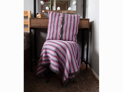 Slipped Stitch Cushion Cover and Blanket by Louise Watling in Deramores Studio Aran