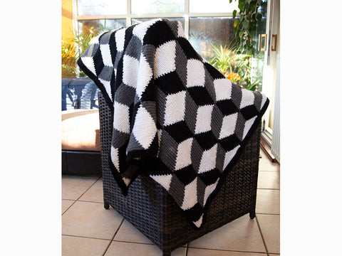 Tumbling Blocks Blanket Knitting Kit and Pattern