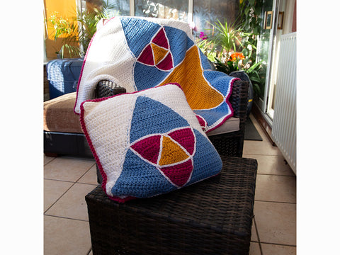 Triangulation Blanket and Cushion Set by Zoë Potrac in Deramores Studio Chunky