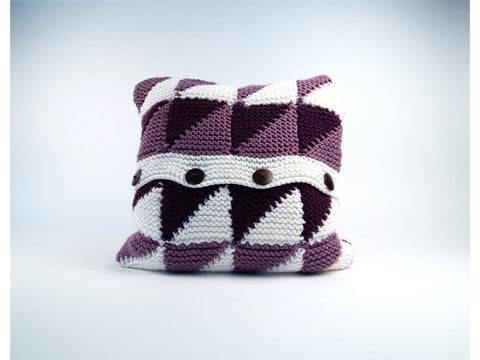 Triangle Motif Cushion by Sarah Murray in Deramores Studio Chunky Knitting Kit and Pattern