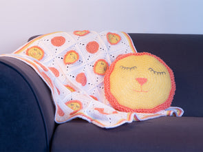 Sleepy Lion Blanket & Cushion Cover Crochet Kit and Pattern in Deramores Yarn