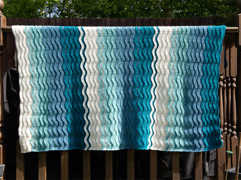 Riding The Wave Blanket Crochet Kit and Pattern in Deramores Yarn