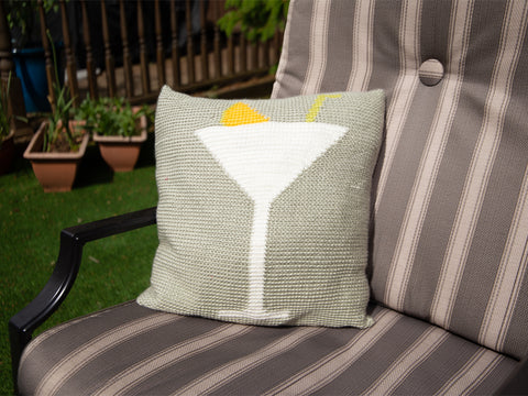 Martini Me Happy Cushion Crochet Kit and Pattern in Deramores Yarn