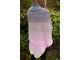 Ombre Shawl Knitting Kit and Pattern in Deramores Yarn