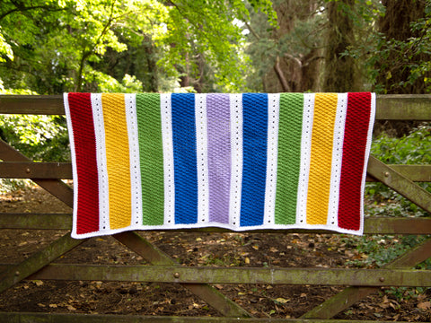 Alpine Rainbow Blanket Crochet Kit and Pattern in Deramores Yarn