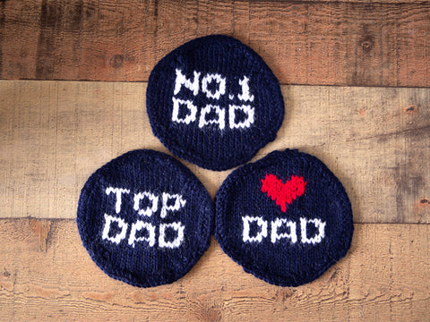 Fathers Day Coasters Knitting Kit and Pattern in Deramores Yarn