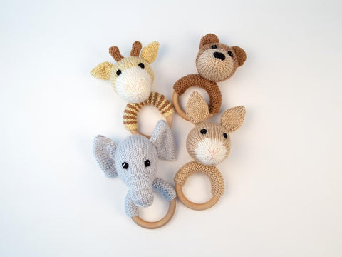 Animal Baby Rattles Knitting Kit and Pattern in Deramores Yarn