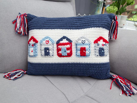 Beach Hut Cushion Crochet Kit & Pattern in Deramores Yarn