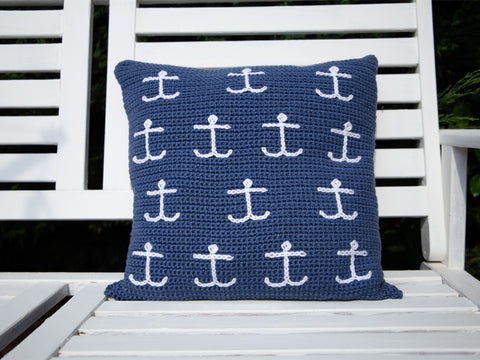 Mini Anchor Cushion Crochet Kit & Pattern in Deramores Yarn