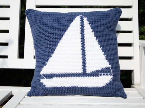 Sailboat Cushion Crochet Kit & Pattern in Deramores Yarn