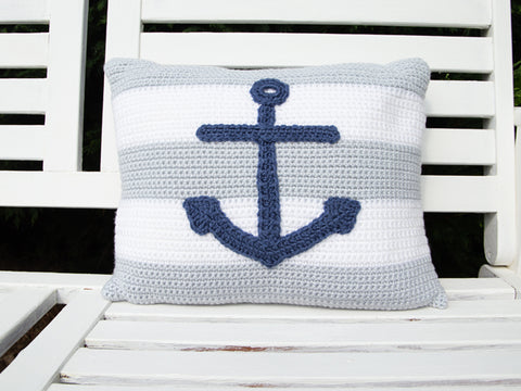 Rectangular Anchor Cushion Crochet Kit & Pattern in Deramores Yarn