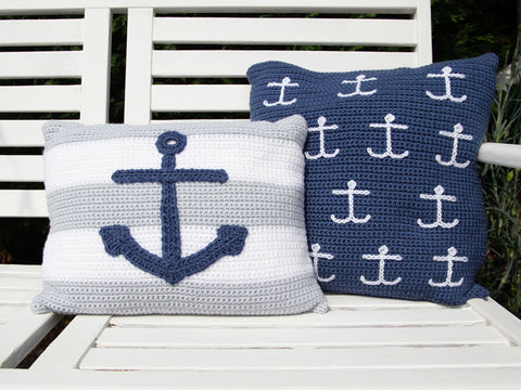 Anchor Cushion Set Crochet Kit & Pattern in Deramores Yarn