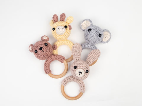 Animal Baby Rattles Crochet Kit and Pattern in Deramores Yarn