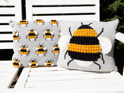 Bee Cushions Crochet Kit and Pattern in Deramores Yarn