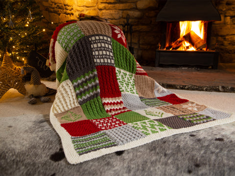 Scandinavian Christmas Winter Knitted Blanket Kit and Pattern in Deramores Yarn