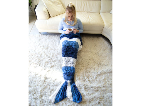 Mermaid Tail Blanket Crochet Kit and Pattern in Deramores Yarn