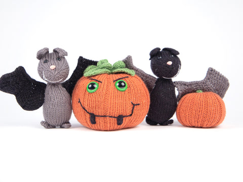 Bats and Pumpkins Knitting Kit and Pattern in Deramores Yarn