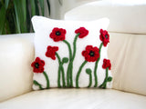 Poppy Cushion Knitting Kit and Pattern in Deramores Yarn