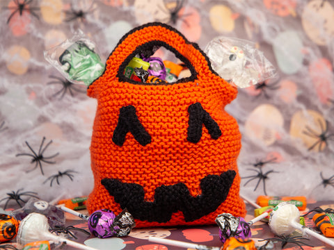Pumpkin Trick and Treat Bag Knitting Kit and Pattern