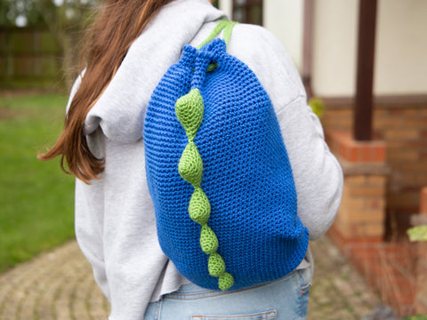 Dinosaur Backpack Crochet Kit and Pattern in Deramores Yarn