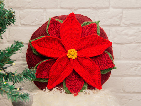 Poinsettia Cushion Knitting Kit and Pattern in Deramores Yarn