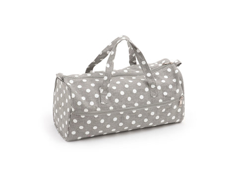 Hobby Gift Knitting Bag - Grey Linen Polka Dot