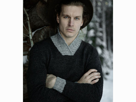 Men's Traditional Jussi Sweater With Shawl Collar in Novita 7 VELJESTÄ