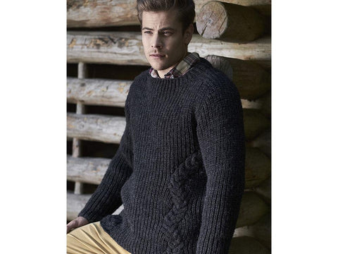 Men's Cabled Sweater in Novita Natura