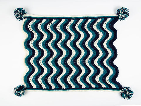 Baby Boy Waves Blanket by Nicola Valiji in Deramores Studio Chunky