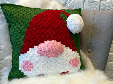 Nordic Christmas Gnome Cushion Crochet Kit and Pattern in Deramores Yarn
