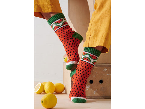 Watermelon Socks Knitting Kit and Pattern in Novita Yarn