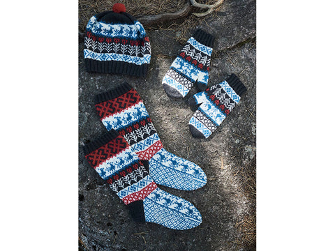 Karelian Beanie, Mittens and Socks in Novita Venla