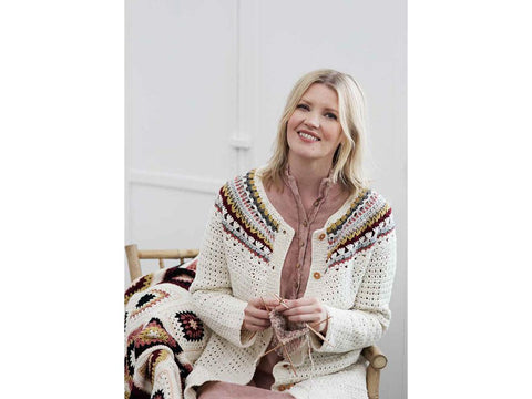 Women's Crochet Cardigan in Novita Wool Cotton & Nordic Wool