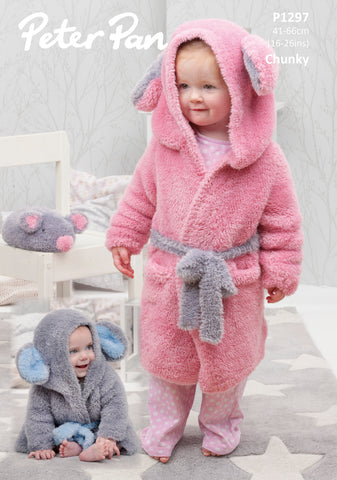 Hooded Dressing Gown and Mouse in Peter Pan Precious Chunky (1297)- Digital Version