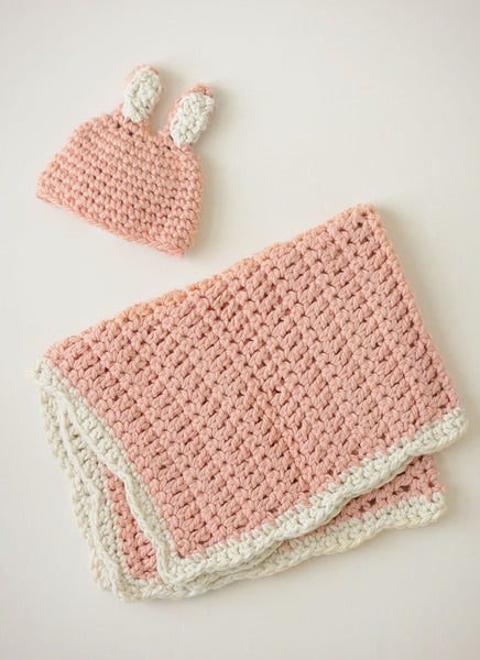 Bunny Hat and Blankie in Spud & Chloe Outer