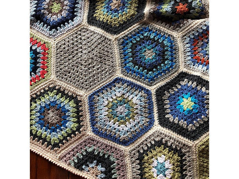 Painted Hexagon Blanket by Cypress Textiles in Scheepjes Catona 50g