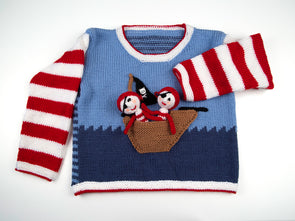 Pirate Boat Sweater and Finger Puppets by Jane Burns in Deramores Studio DK