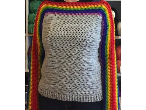 Rainbow Sleeve Jumper Crochet Kit and Pattern in Hayfield Yarn