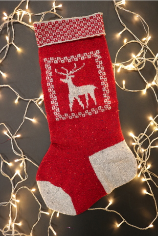 Reindeer Christmas Stocking Pattern By Dee Hardwicke in Rowan Valley Tweed