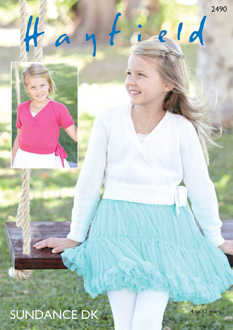 Children's Long & Short Sleeved Ballet Wrap in Hayfield Sundance DK (2490S)