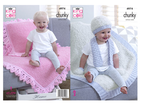 Blankets, Cushions, Hat, Scarf & Mittens in King Cole Cuddles Chunky & Comfort Chunky (4974)