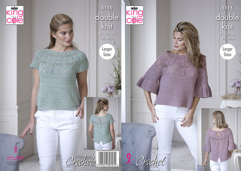 Bell Sleeve & Short Sleeve Tops in King Cole Finesse Cotton Silk DK (5115K)