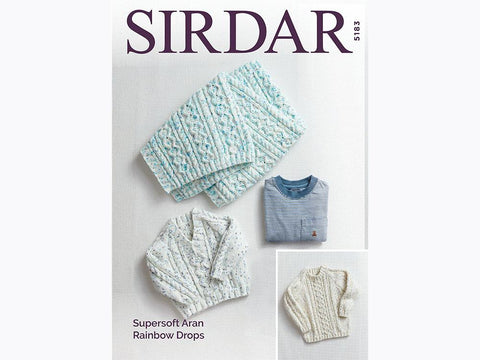 Sweaters and Blanket in Sirdar Supersoft Aran Rainbow Drops (5183S)