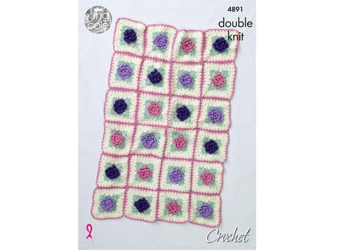 Floral Motif Blankets Crochet Kit and Pattern in King Cole Yarn