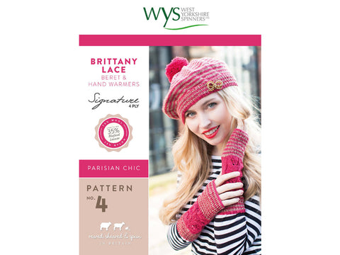 Brittany Lace Beret & Hand Warmers in West Yorkshire Spinners Signature 4 Ply - Pattern No. 4