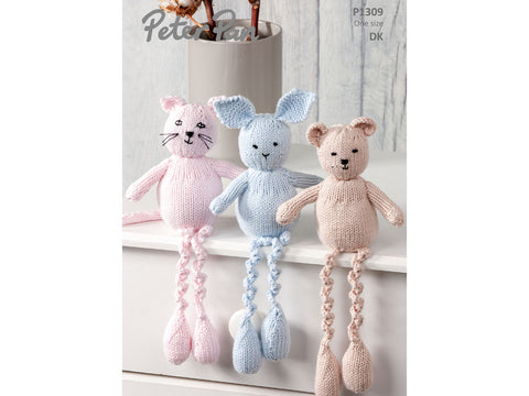 Cat, Rabbit and Bear in Peter Pan Baby Cotton DK (1309)
