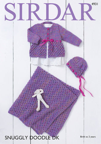 Round Neck Coat and Hat in Sirdar Snuggly Doodle DK Kit
