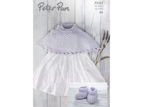 Poncho and Bootees in Peter Pan Baby Cotton DK (1312)