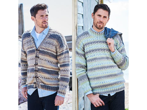 Mens Basket Weave Sweater and Cardigan in Stylecraft Life Heritage (9572)