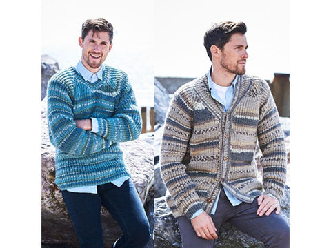 Mens Fisherman's Rib Shawl Collared Jacket and Sweater in Stylecraft Life Heritage (9574)